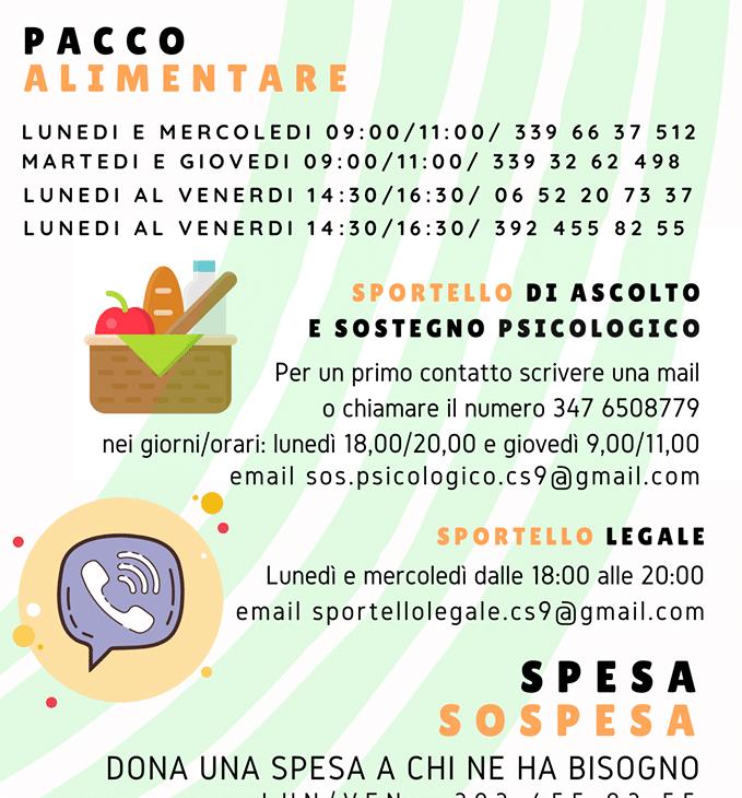 Pacchi alimentari e della spesa sospesa nel IX municipio